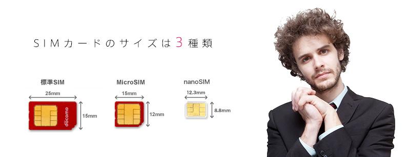 SIMカードの大きさ3つのサイズが存在します