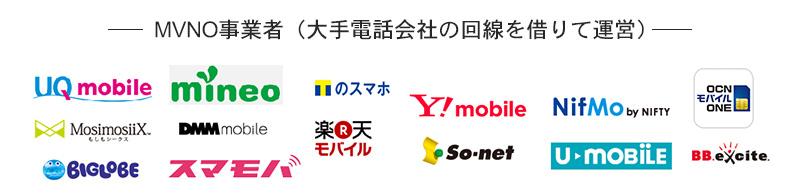 十数社のMVNO事業者の紹介